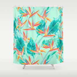 Birds Of Paradise Mint Shower Curtain