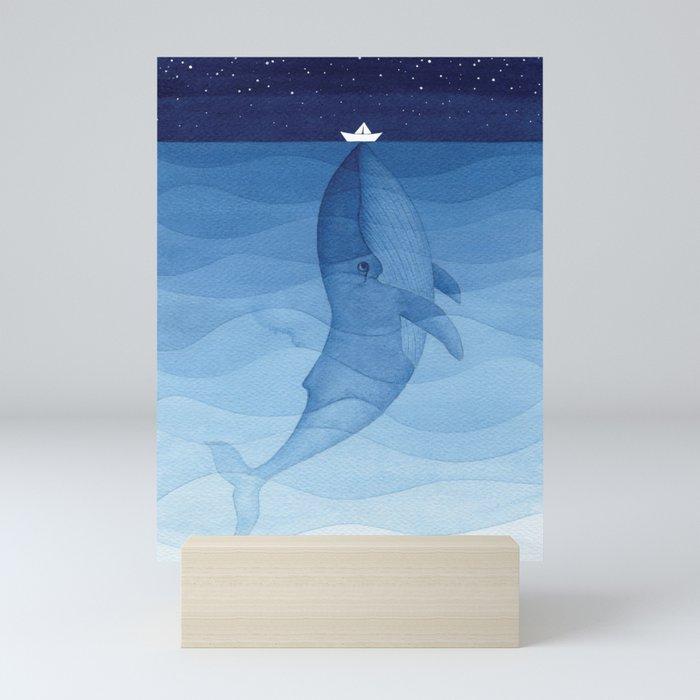 Whale blue ocean Mini Art Print