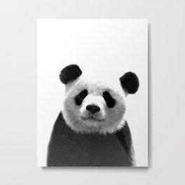 Black and white panda portrait Metal Print