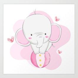 Cute Elephant, Baby Elephant, Elephant On The Ball Art Print