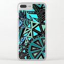 Ethnic pattern in blue turquoise tones on a black background . by fuzzyfox85