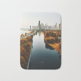 chicago aerial view Bath Mat