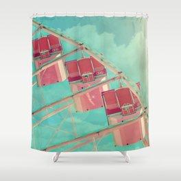 Cotton Candy Dreams, Ferris Wheel Print, Shabby Chic, Vintage Carnival, Nursery Decor Shower Curtain