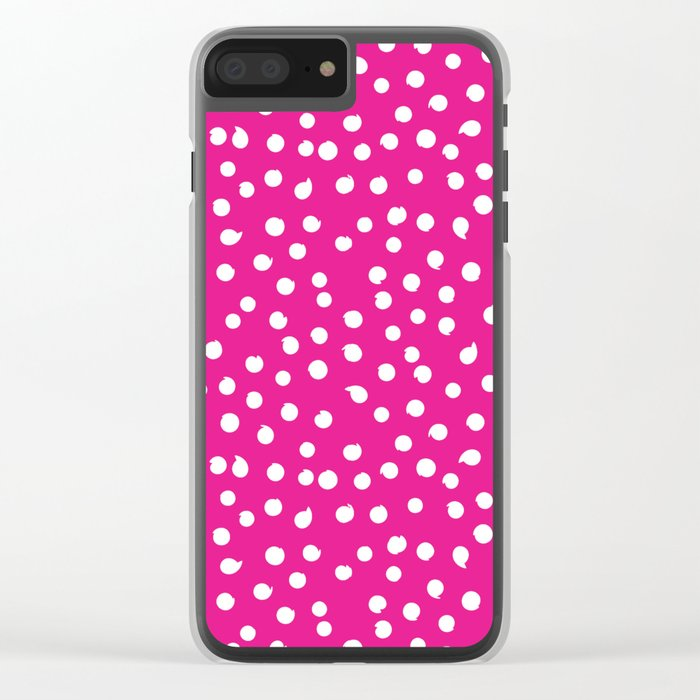 Simply White Dots Polkadots on pink background - Mix & Match Clear iPhone Case