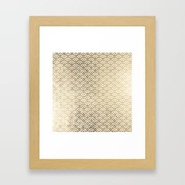 Elegant chic faux gold white japanese wave scallop pattern Framed Art Print