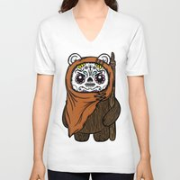 ewok V-neck T-shirts featuring Sugar Skull Ewok by Team Rapscallion