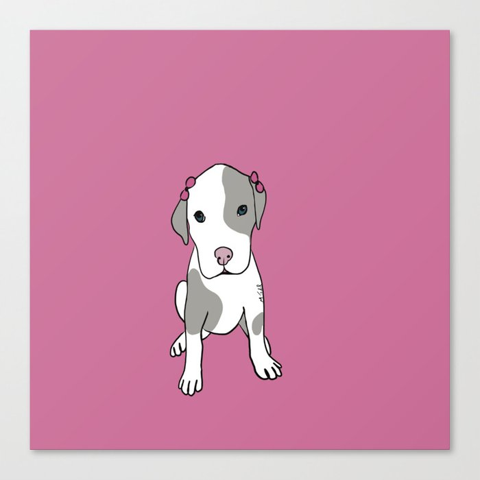 Millie The Pitbull Puppy Canvas Print