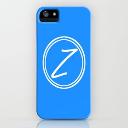 Monogram - Letter Z on Dodger Blue Background iPhone Case