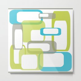Mid-Century Modern Rectangle Design Blue Green and Gray Metal Print