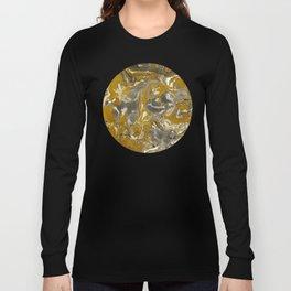 Brown and grey Marble texture acrylic Liquid paint art Long Sleeve T-shirt
