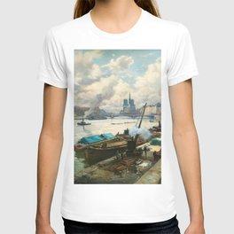 Notre Dame, River Seine, Paris Ile Saint-Louis with River Boats by Henri Alphonse Barnoin T-shirt