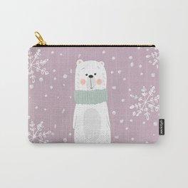 Cute Polar Bear Pink Carry-All Pouch