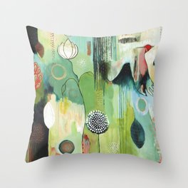 """Fly Home"" Original Painting by Flora Bowley Throw Pillow"