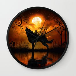 Awesome wolf and fairy Wall Clock
