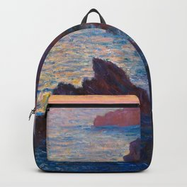 Claude Monet Impressionist Landscape Oil Painting Sunset At Sea Cliffs Ocean Cliff Landscape Backpack
