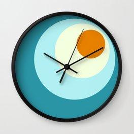 Wala - Classic Colorful Blue Orange Abstract Minimal Retro 70s Style Dots Design Wall Clock