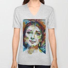 MARIA CALLAS - watercolor portrait.9 Unisex V-Neck