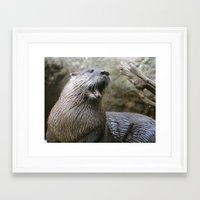 otter Framed Art Prints featuring Otter by Veronica Ventress