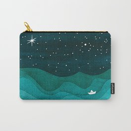 Starry Ocean, teal sailboat watercolor sea waves night Carry-All Pouch