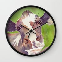 cow Wall Clocks featuring cow by Michele Petri