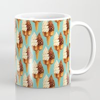 novelty Mugs featuring Ice Cream Pattern - Teal by Kelly Gilleran