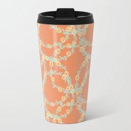 Yellow Flowers on Vines with Pumpkin Orange Background Travel Mug