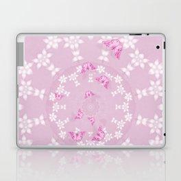 Pretty pink butterflies on flower mandala Laptop & iPad Skin