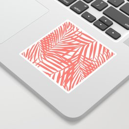 Palm Fronds in Living Coral Sticker