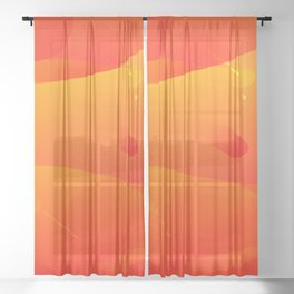 Colorful Orange Abstract Art Design Sheer Curtain