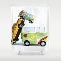 cars Shower Curtains featuring cars by Esjaybee