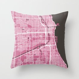 Chicago Map | Pink & Brown Colors Throw Pillow