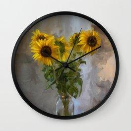 Five Sunflowers Centered Wall Clock