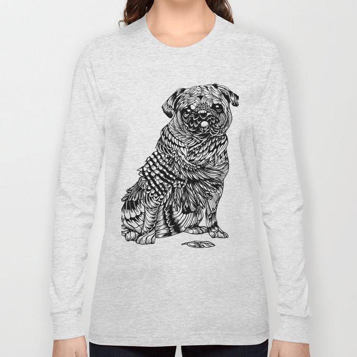 Pug Feather Long Sleeve T-shirt