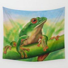Green Treefrog Wall Tapestry