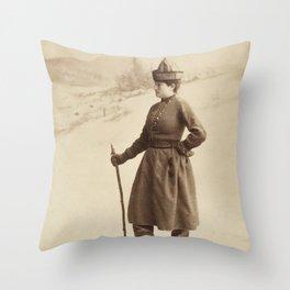 Vintage Skiing Photo Throw Pillow