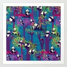 Both Species of Panda - Blue Art Print