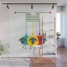Knitting sheep bright and funny concept Wall Mural