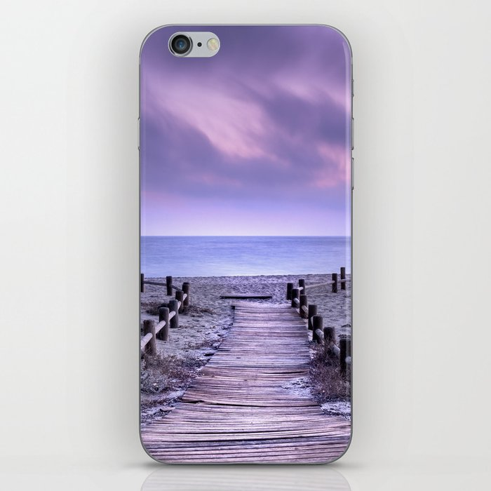 """To the beach...."" Purple sunset iPhone Skin"