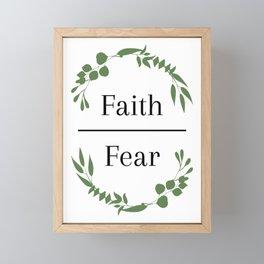 Faith over Fear Greenery Framed Mini Art Print