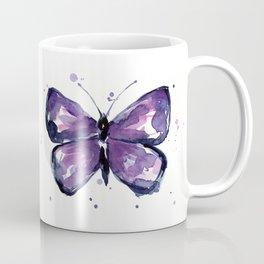 Purple Butterfly Watercolor Abstract Animal Art Coffee Mug