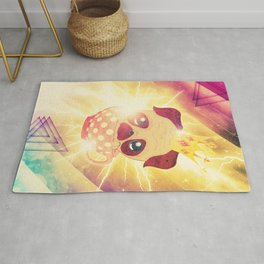 Kawaii pug flying in a cup lightings and starry texture Rug