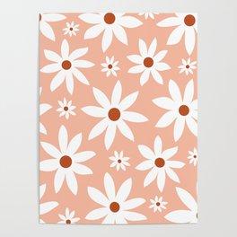 Fun, Modern, Flowers Print, Pink, Terracotta, White Poster