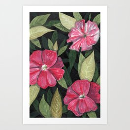Floral and Leaves Background Art Print