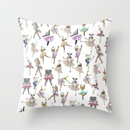 Animal Square Dance Hipster Ballerinas Throw Pillow