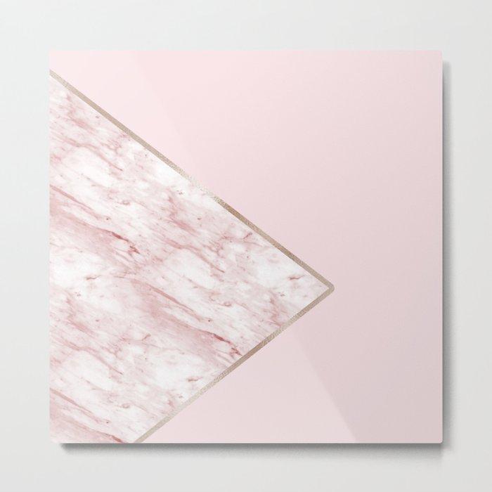 Blush pink geo - pink marble Metal Print