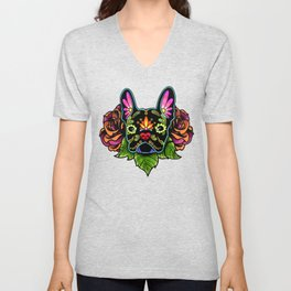French Bulldog in Black - Day of the Dead Bulldog Sugar Skull Dog Unisex V-Neck