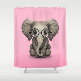 Cute Baby Elephant Calf with Reading Glasses on Pink Shower Curtain