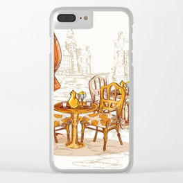 Street Cafe Sketch Clear iPhone Case