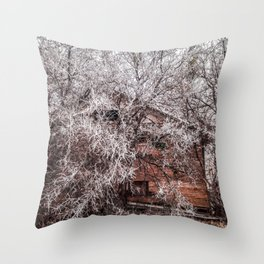 Icicles on branches and old wooden buildings Throw Pillow