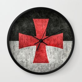 Knights Templar Flag in Super Grunge Wall Clock